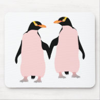Gay Pride Lesbian Penguins Holding Hands Mouse Pad