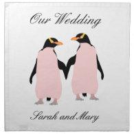 Gay Pride Lesbian Penguins Holding Hands Printed Napkins