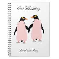 Gay Pride Lesbian Penguins Holding Hands Note Books
