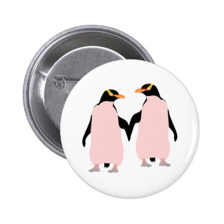 Gay Pride Lesbian Penguins Holding Hands Pinback Button