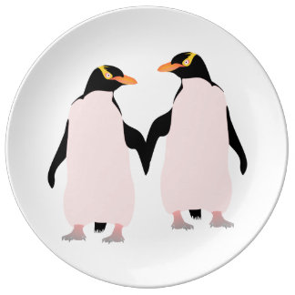 Gay Pride Lesbian Penguins Holding Hands Plate