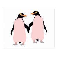 Gay Pride Lesbian Penguins Holding Hands Postcard