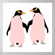 Gay Pride Lesbian Penguins Holding Hands Poster