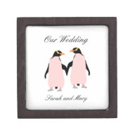 Gay Pride Lesbian Penguins Holding Hands Premium Gift Box