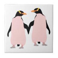 Gay Pride Lesbian Penguins Holding Hands Tile