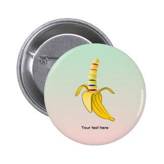 Gay Pride LGBQ Flag Banana 2 Inch Round Button