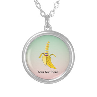 Gay Pride LGBQ Flag Banana Silver Plated Necklace