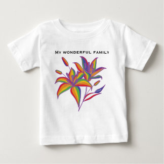 Gay Pride LGBT flag stargazer flower Baby T-Shirt