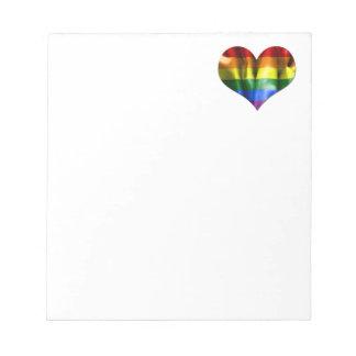 Gay Pride Love Heart Flag Notepad