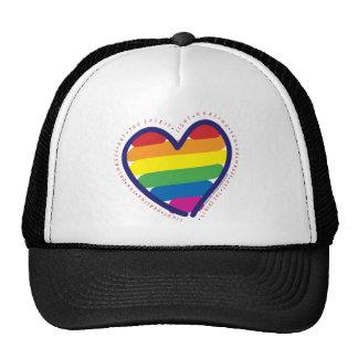 Gay Pride Love Heart Trucker Hats