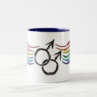 Gay Pride Male Symbol Two-Tone Coffee Mug