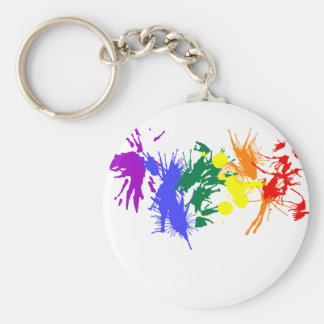 Gay Pride Paint Basic Round Button Keychain