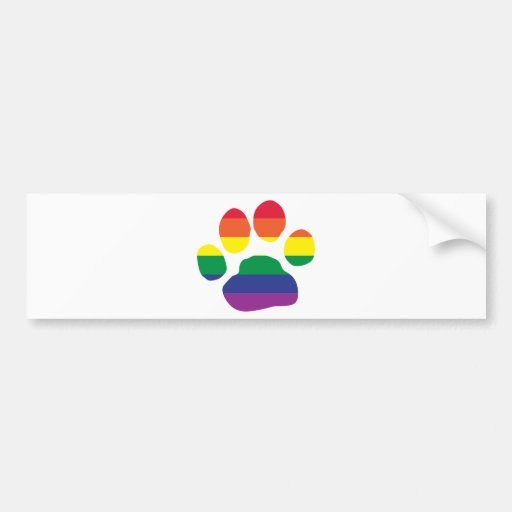 Gay Pride Paw Print Bumper Stickers