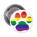 Gay Pride Paw Print Button