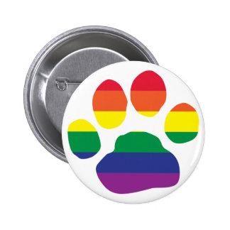 Gay Pride Paw Print Pinback Button