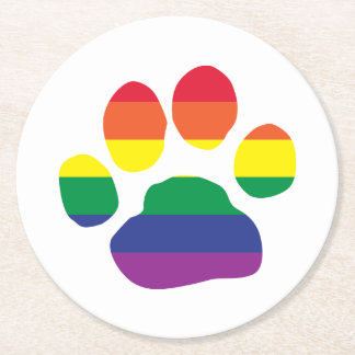 Gay-Pride-Paw-Print Round Paper Coaster