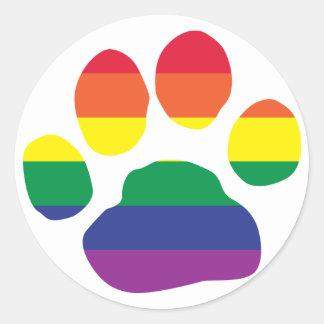 Gay Pride Paw Print Classic Round Sticker