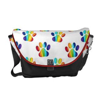 Gay Pride Pawprint Bags, Home Decor Items Courier Bag