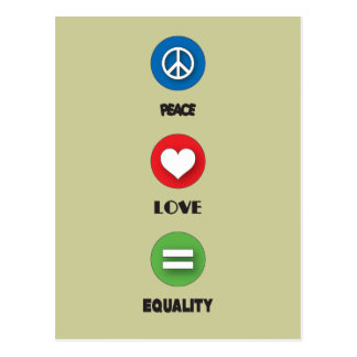 Gay Pride Peace Love Equality Postcard