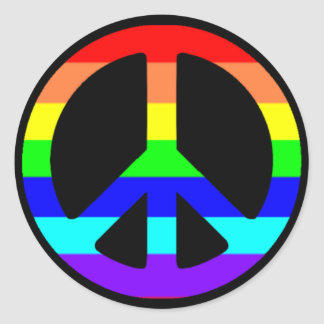 Gay Pride Peace Symbol Stickers (Text Optional)