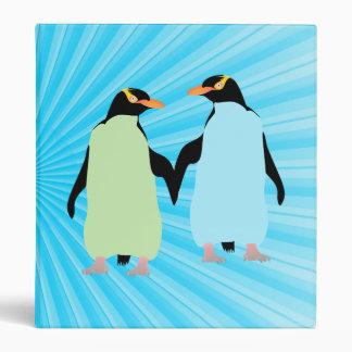 Gay Pride Penguins Holding Hands 3 Ring Binder