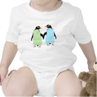 Gay Pride Penguins Holding Hands Baby Bodysuits