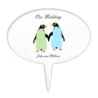 Gay Pride Penguins Holding Hands Cake Toppers
