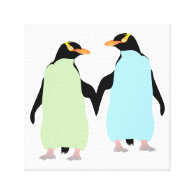 Gay Pride Penguins Holding Hands Canvas Prints