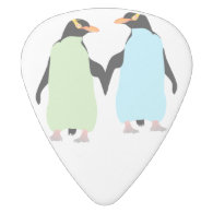 Gay Pride Penguins Holding Hands White Delrin Guitar Pick