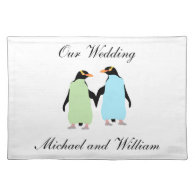 Gay Pride Penguins Holding Hands Cloth Placemat
