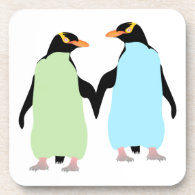 Gay Pride Penguins Holding Hands Coasters