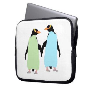 Gay Pride Penguins Holding Hands Computer Sleeve