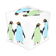 Gay Pride Penguins Holding Hands Cube Pouf
