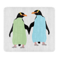Gay Pride Penguins Holding Hands Cutting Boards