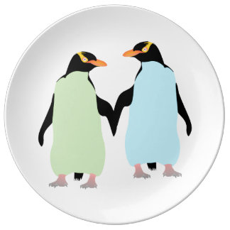 Gay Pride Penguins Holding Hands Dinner Plate