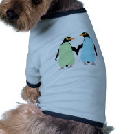 Gay Pride Penguins Holding Hands Doggie Tee Shirt