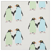Gay Pride Penguins Holding Hands Fabric