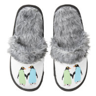 Gay Pride Penguins Holding Hands Pair Of Fuzzy Slippers