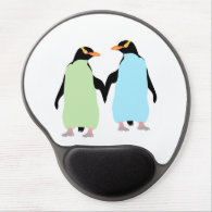 Gay Pride Penguins Holding Hands Gel Mouse Pad