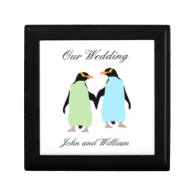 Gay Pride Penguins Holding Hands Gift Box