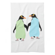 Gay Pride Penguins Holding Hands Hand Towel