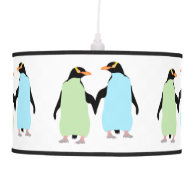 Gay Pride Penguins Holding Hands Hanging Lamp