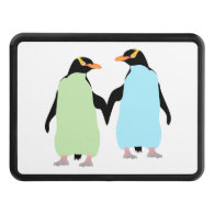Gay Pride Penguins Holding Hands Hitch Covers