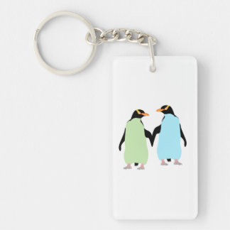 Gay Pride Penguins Holding Hands Double-Sided Rectangular Acrylic Keychain