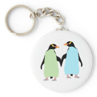 Gay Pride Penguins Holding Hands Basic Round Button Keychain