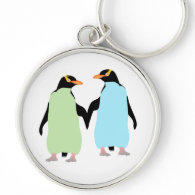 Gay Pride Penguins Holding Hands Silver-Colored Round Keychain