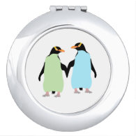 Gay Pride Penguins Holding Hands Makeup Mirrors