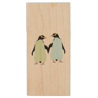 Gay Pride Penguins Holding Hands Wood USB 2.0 Flash Drive