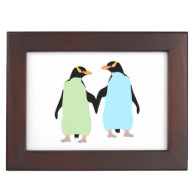 Gay Pride Penguins Holding Hands Memory Box