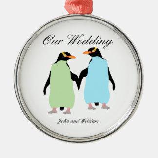Gay Pride Penguins Holding Hands Metal Ornament